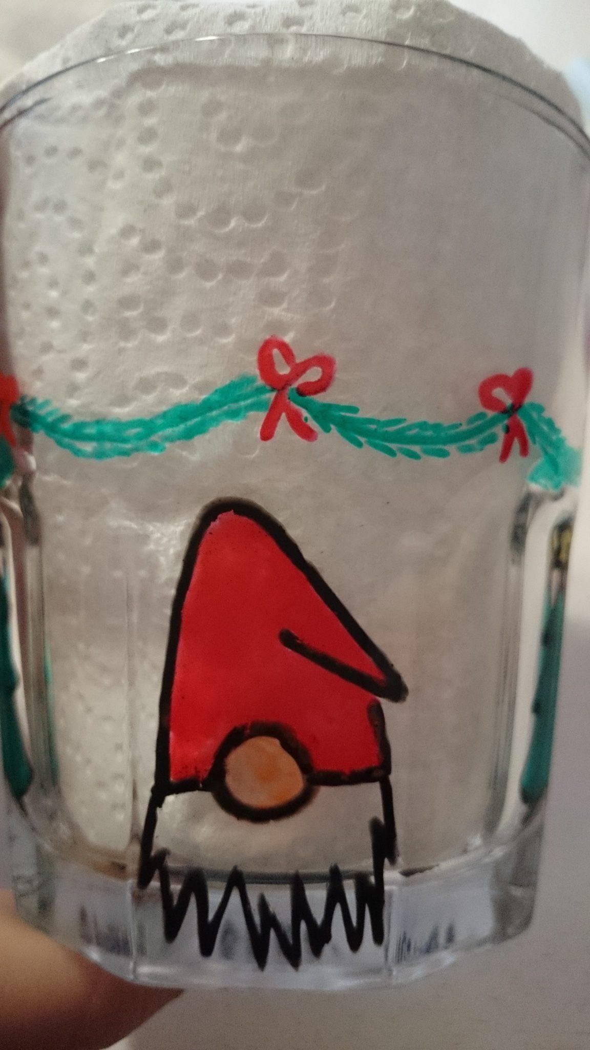 malet drikkeglas julemotiver